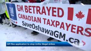 General Motors files application to stop Unifor 'illegal strikes' (01:51)