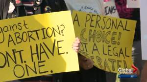 Pro-choice protesters voice opposition to pro-life event in Edmonton
