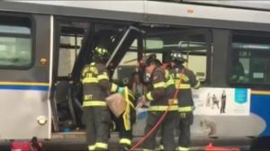 One person trapped after bus crash in Port Moody
