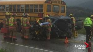 One person airlifted from scene of crash involving school bus in North Okanagan