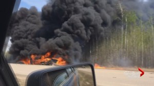 Horrific fatal crash on Alberta's Highway 881 sparks blaze
