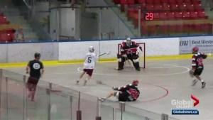 Okotoks Raiders draw first blood against Mounties in Alberta junior A lacrosse championship series