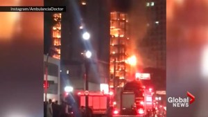 Blazing building collapses in Sao Paulo leaves at least 1 dead
