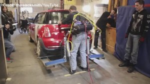 Kitchener, ON man develops 'Iron Man' type exoskeleton, lifts Mini Cooper