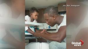 Firefighter dad attempts to give daughter a pedicure in viral video