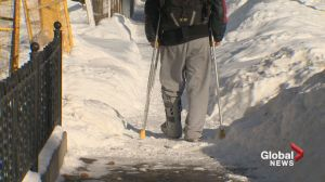 Snow covered sidewalks create all kinds of problems for Calgarians