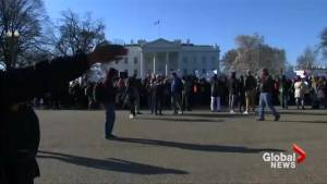 Students voice their outrage on lack of gun control laws in front of the White House (00:47)