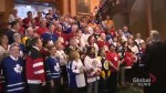 Ontario MPPs clad in jerseys shout 'Humboldt Strong' at Queen's Park in honour of Humboldt Broncos