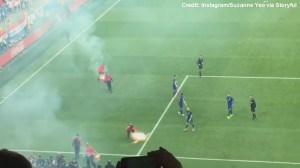 Fireworks, flares thrown on pitch interrupt Euro Cup match between the Czech Republic and Croatia