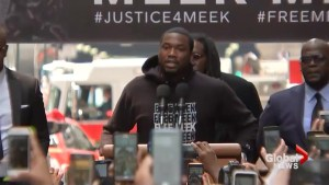 Rapper Meek Mill speaks at rally in his own honour prior to court appearance