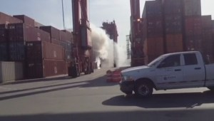 Port employee captures fire as it broke out