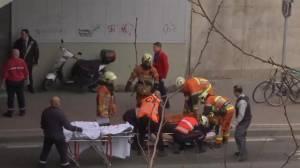 EMTs work on injured outside Brussels metro station