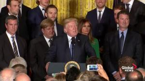 "Trump tells Penguins that we ""always like unattractive teams"" to visit the White House"