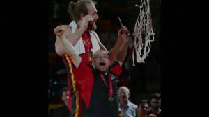 Gotta See It: Dinos celebrate basketball championship win with long time water boy