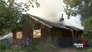 Abandoned house in Surrey goes up in flames