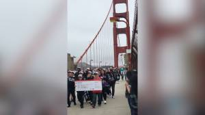 NBA Finals: Raptors fans chant 'We the North' and 'Let's Go Raptors' marching across Golden Gate Bridge