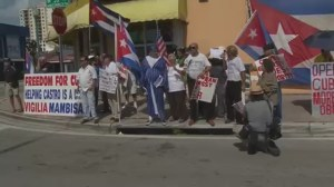 Cuban-Americans protest opening of Cuban embassy
