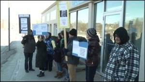 Residents protest the end of the basic income program in City of Kawartha Lakes