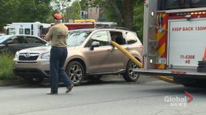 Halifax firefighters smashed illegally parked car window to gain access to fire hydrant (01:46)