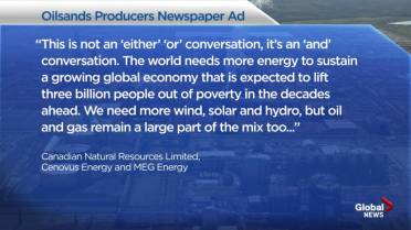Canadian energy giants take out full-page newspaper ads as