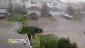 Hail pelts Edmonton as storm moves through
