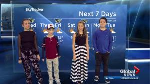 Global Edmonton weather forecast with 'reporters for the day' from Kids with Cancer Society