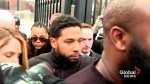 Jussie Smollett makes way through media swarm after being released from custody