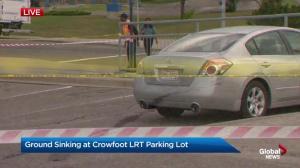 Ground sinking at Crowfoot LRT parking lot