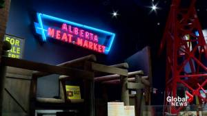 Alberta Meat Market sign is lit up once again