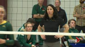 Pandas volleyball coach sets record with win last week