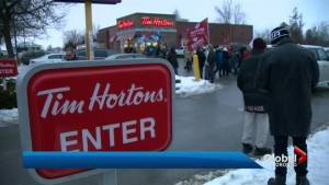 Cuts to Cobourg Tim Hortons workers' benefits draws large protest