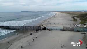Drone video captures current situation at Tijuana, Mexico border crossing