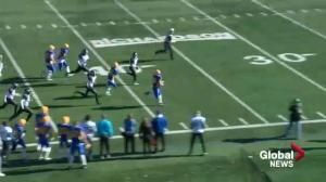 Saskatoon Hilltops Josh Ewanchyna returns opening kick off for touchdown
