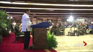Duterte tells soldiers to shoot female rebels in vagina