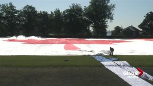 Setting up Canada's largest flag in Stanley Park