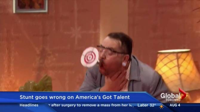 Guy gets shot with arrow on talent show-2567