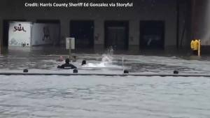 Texas Sheriff assists with rescue of man stuck in eight feet of water from Harvey floods