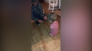 Video shows moment toddler with no arms or legs walks for the first time