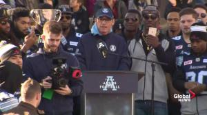 Argos coach praised for 'woke' speech at Grey Cup victory rally