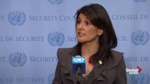 Reporter asks Nikki Haley if U.S. on 'right side of history' over Jerusalem vote (00:45)