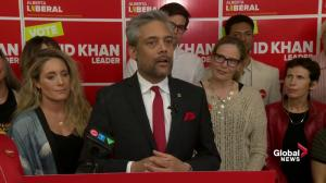 Alberta Election 2019: Liberal Party Leader David Khan congratulates UCP