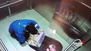 Security camera catches delivery man eating toppings off pizza