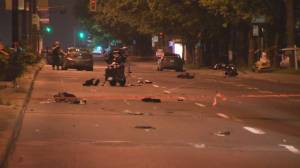 2 motorcyclists hospitalized after street racing accident between 2 cars on Pie-IX