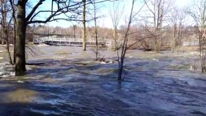 Flooding turns Drummondville park into rushing river
