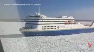 Ferry gets stuck in ice off the coast of Nova Scotia