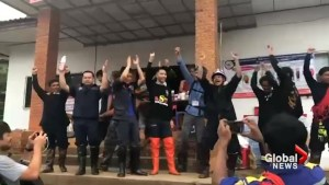 Volunteers celebrate Thailand cave rescue