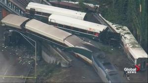 Aerial view of Amtrak train derailment shows devastation of accident