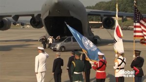 Remains of U.S. servicemen killed in Korea loaded onto military plane
