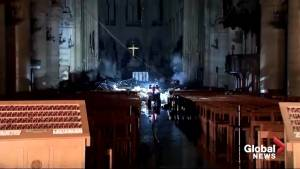 Video reveals inside of Notre Dame after fire burns through cathedral