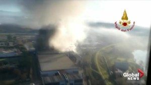 Large fire at waste treatment plant in Italy sends plumes of smoke into the air